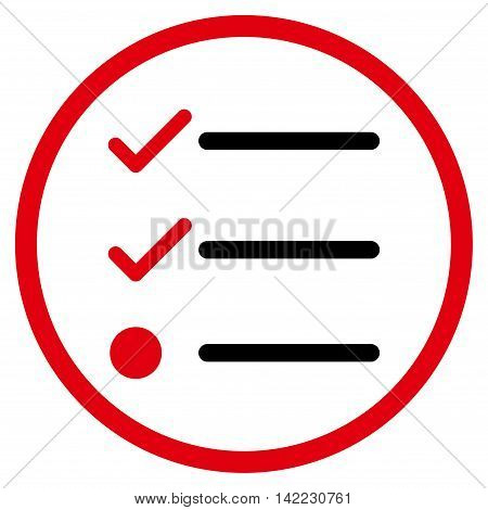 Checklist vector icon. Style is bicolor flat rounded iconic symbol, checklist icon is drawn with intensive red and black colors on a white background.