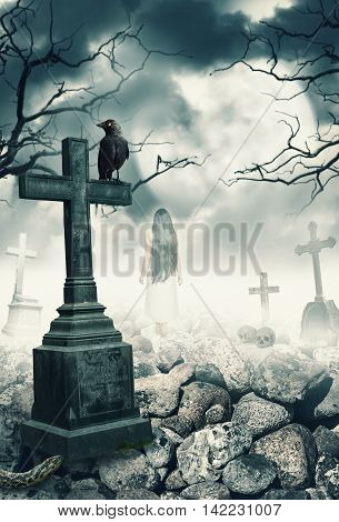 Halloween mystical spooky background with raven and cross on graveyard