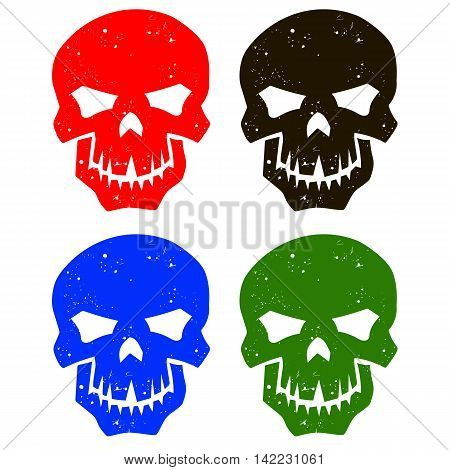 Set of silhouettes of skulls of different colors. Isolated skulls. Vector illustration