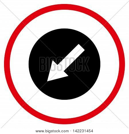 Down-Left Rounded Arrow vector icon. Style is bicolor flat rounded iconic symbol, down-left rounded arrow icon is drawn with intensive red and black colors on a white background.