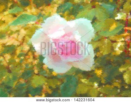 Rose pink flower dry brush watercolor painting