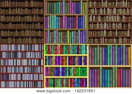 Set of bookshelf generated textures, 3D illustration