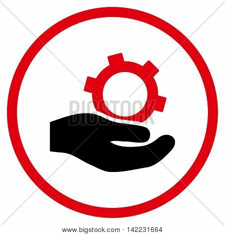 Engineering Service vector icon. Style is bicolor flat rounded iconic symbol, engineering service icon is drawn with intensive red and black colors on a white background.
