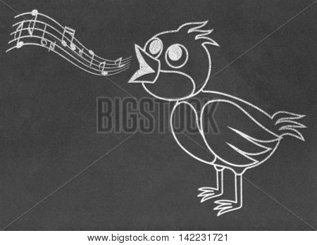 Singing bird drawing on chalkboard black background