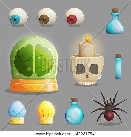 A collection of items for mad evil professor human experiment laboratory design. Canned brain, human eyeballs, scull chandelier and other spooky elements for game and app design.