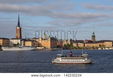 Stockholm, Sweden - May 29, 2016: Djurgarden ferry transporting passengers. The ferry goes between different islands in the Stockholm.