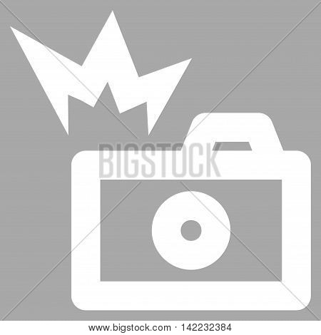 Camera Flash vector icon. Style is linear flat icon symbol, white color, silver background.
