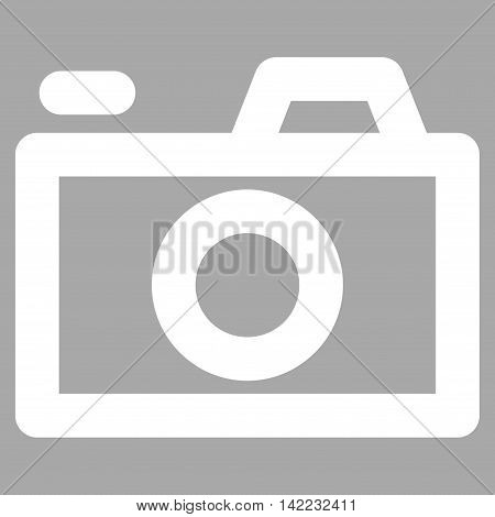 Camera vector icon. Style is contour flat icon symbol, white color, silver background.