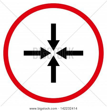 Impact Arrows vector icon. Style is bicolor flat rounded iconic symbol, impact arrows icon is drawn with intensive red and black colors on a white background.