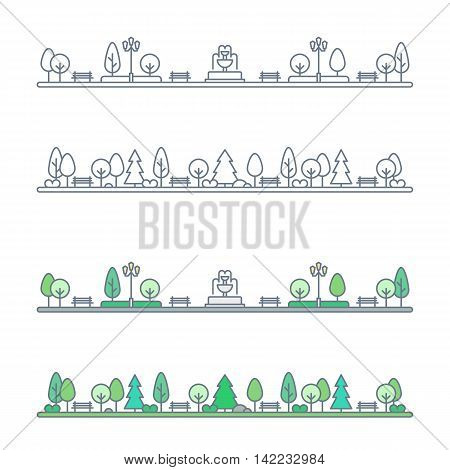 public park landscape. natural landscape with benches trees and fountain. city park landscape. flat outline style. isolated on white background. vector illustration