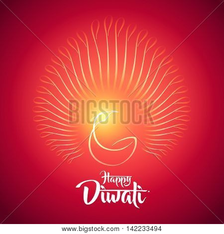 happy diwali peacock diya oil lamp design