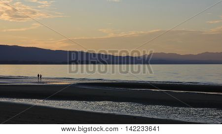 Evening scene at Pohara Beach Golden Bay.