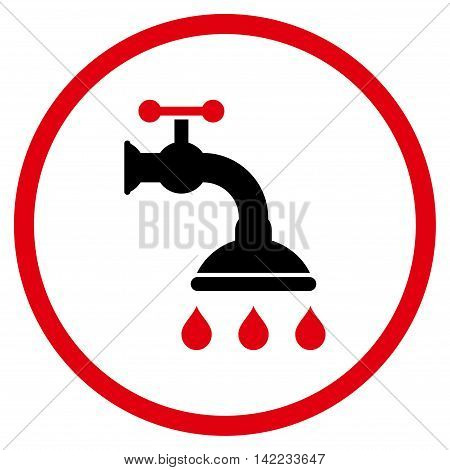 Shower Tap vector icon. Style is bicolor flat rounded iconic symbol, shower tap icon is drawn with intensive red and black colors on a white background.