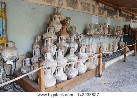 Amphoras in Bodrum Castle Aegean Coast of Turkey