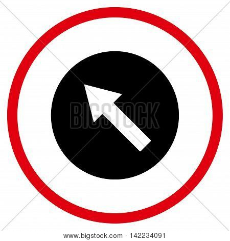Up-Left Rounded Arrow vector icon. Style is bicolor flat rounded iconic symbol, up-left rounded arrow icon is drawn with intensive red and black colors on a white background.