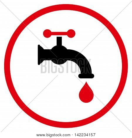 Water Tap vector icon. Style is bicolor flat rounded iconic symbol, water tap icon is drawn with intensive red and black colors on a white background.