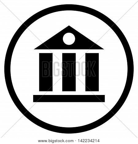 Bank Building vector icon. Style is flat rounded iconic symbol, bank building icon is drawn with black color on a white background.