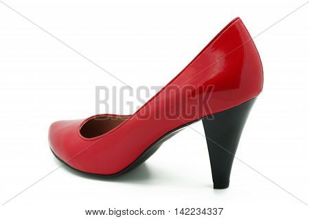 Red High Heels Shoe Isolated on White Background
