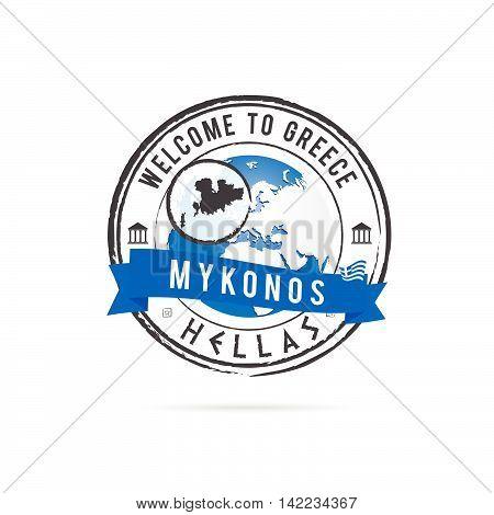 Grunge Rubber Stamp With Blue Ribbon And Greek Island Mykonos Illustration