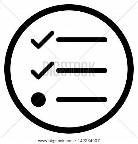 Checklist vector icon. Style is flat rounded iconic symbol, checklist icon is drawn with black color on a white background.