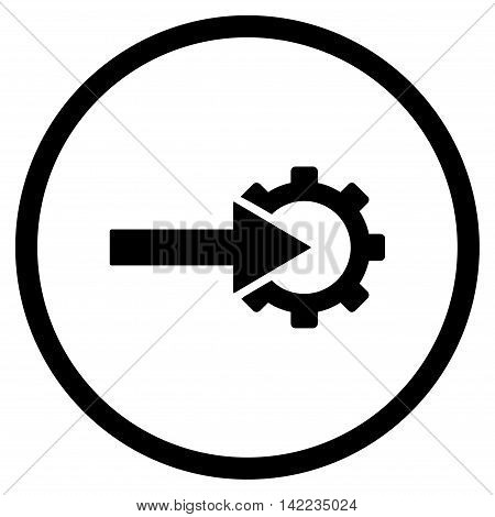 Cog Integration vector icon. Style is flat rounded iconic symbol, cog integration icon is drawn with black color on a white background.