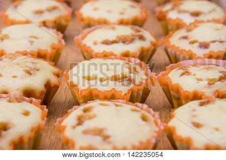 Close-up Of Freshly Baked Cakes With Condensed Milk