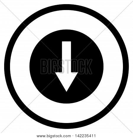 Down Rounded Arrow vector icon. Style is flat rounded iconic symbol, down rounded arrow icon is drawn with black color on a white background.
