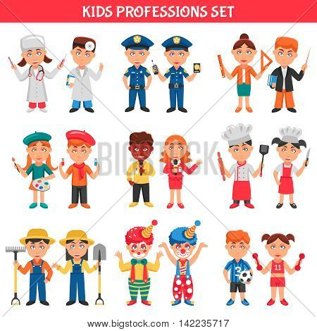 People professions cartoon icons set for kids with clowns policeman doctor teacher footballer artist chef flat vector illustration
