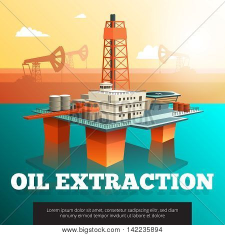 Offshore platform oil rig to drill wells extract and process oil and natural gas isometric vector illustration
