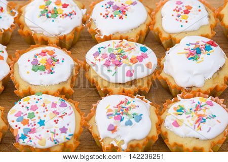 View of a freshly prepared Easter cupcake