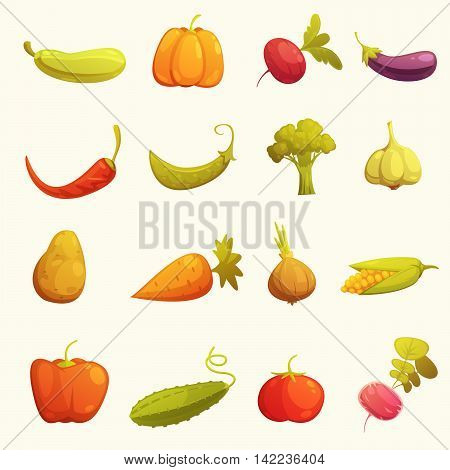 Ecological farming production classical vegetables icons set with cucumber carrot cucumber paprika tomato retro isolated vector illustration