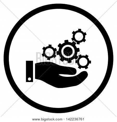 Mechanics Service vector icon. Style is flat rounded iconic symbol, mechanics service icon is drawn with black color on a white background.