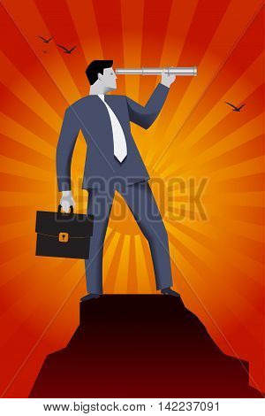 Searching new opportunities business concept. Successful businessman in the suit with case and looking glass on the top of the mountain looking around and searching for new opportunities and targets
