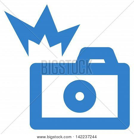 Camera Flash vector icon. Style is outline flat icon symbol, cobalt color, white background.