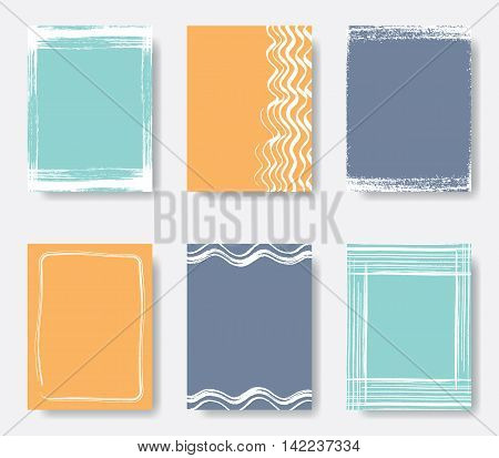 Beautiful vector journal card frames printable collection in orange and blue