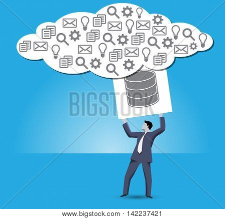 Putting data into cloud business concept. Confident businessman trying to put a big cube with databases sign on it into big information cloud. Internet marketing big data decentralized data storage.
