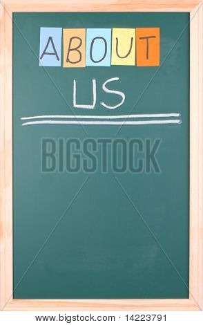 About Us, Colorful Word On Blackboard