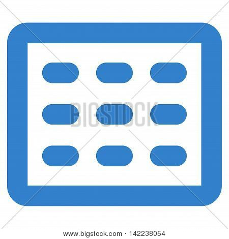 Table Grid vector icon. Style is stroke flat icon symbol, cobalt color, white background.