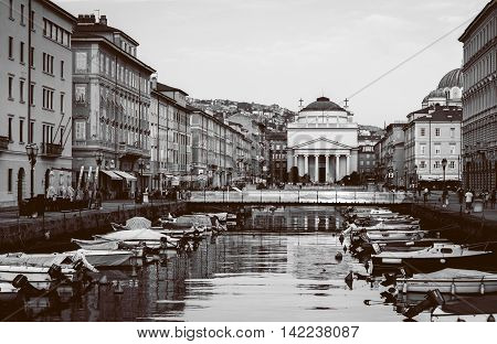 Trieste, Italy - February of 2015: View of city center and Grand Canal in Trieste black and white