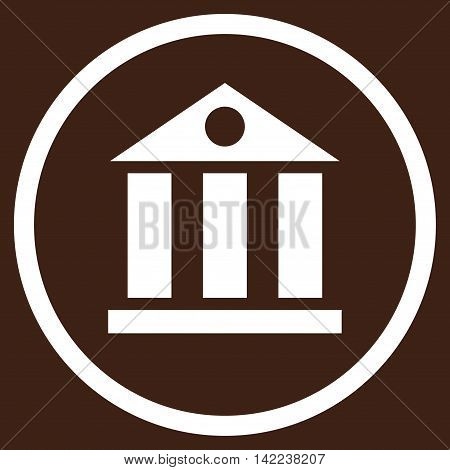 Bank Building vector icon. Style is flat rounded iconic symbol, bank building icon is drawn with white color on a brown background.