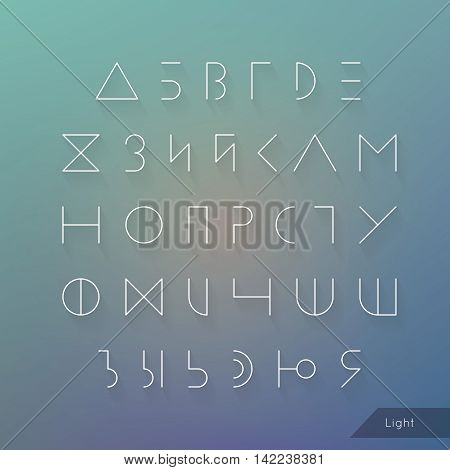 Cyrillic alphabet typeface vector. Hipster Russian symbols set. Elegant typeset eps. Light Line geometric letters.