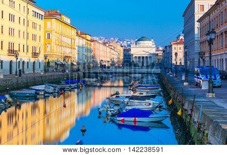 Trieste, Friuli Venezia Giulia region, Italy - February of 2015: View of Grand Canal in the city of Trieste
