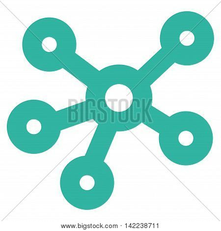 Hub Links vector icon. Style is outline flat icon symbol, cyan color, white background.