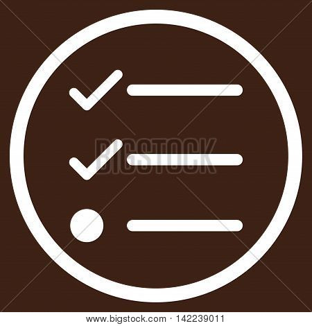 Checklist vector icon. Style is flat rounded iconic symbol, checklist icon is drawn with white color on a brown background.