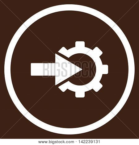 Cog Integration vector icon. Style is flat rounded iconic symbol, cog integration icon is drawn with white color on a brown background.