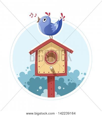 Bird sit and sing on nesting box. Vector illustration. Isolated white background