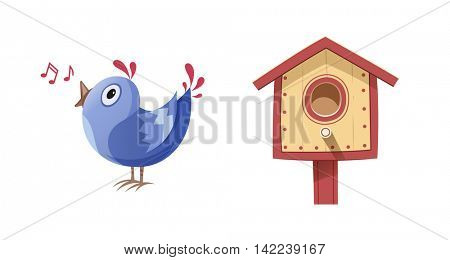 Bird sing song and nesting box. Vector illustration. Isolated white background