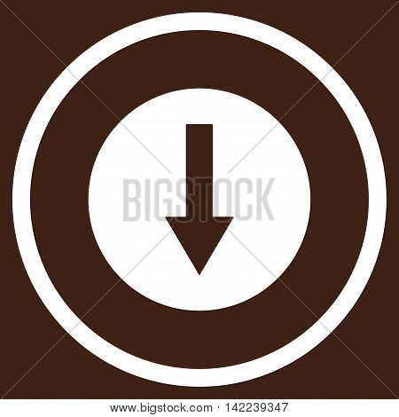 Down Rounded Arrow vector icon. Style is flat rounded iconic symbol, down rounded arrow icon is drawn with white color on a brown background.