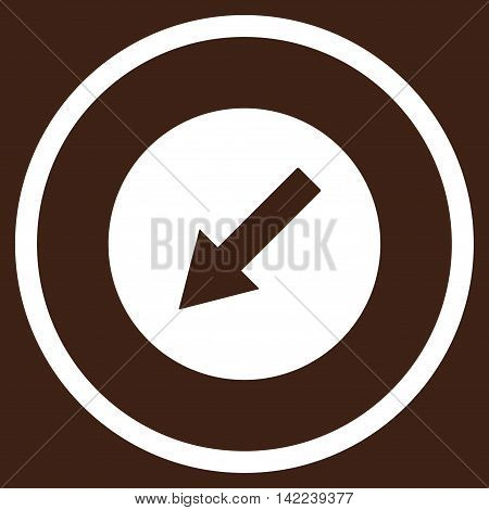 Down-Left Rounded Arrow vector icon. Style is flat rounded iconic symbol, down-left rounded arrow icon is drawn with white color on a brown background.