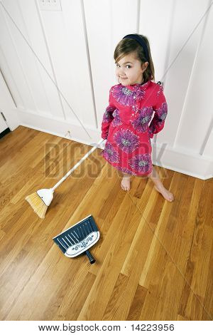 House Cleaning Little Girl